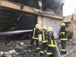 الدفاع المدني يسيطر على حريق لمستودع أثاث وأجهزة الكترونية